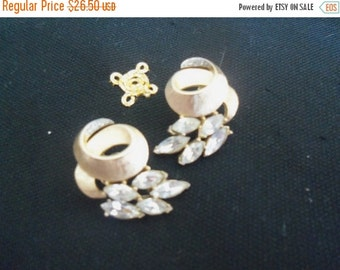 Now On Sale Vintage Crown Trifari Rhinestone Earrings 1960's Designer Signed Collectible Jewelry Mad Men Mod Hollywood Regency