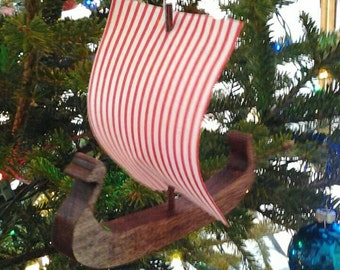 VIKING SHIP Ornament, Wooden, Viking  Sailing Ship, Christmas Ornament, Wood Viking Ship, Viking, Christmas Tree Ornament,  Miniature Ship