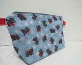 Large Wedge Project Bag || Winter Scotty Dogs Print Project Bag for Knitters, Crocheters, or Needleworkers
