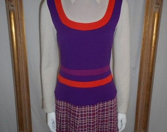 30% OFF SUMMER SALE - - Vintage 1970's Buffums' Purple/Orange/Beige Wool Knit Dress - Size 6