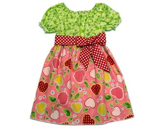 Girls Fall Dress Back To School Apples Red Polka Dot Peasant Size 6-12 month, 18 month, 2 / 3, 4 / 5, 6 / 7, 8 / 9