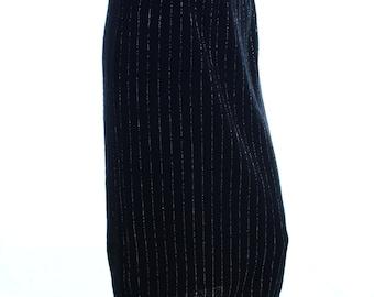 Vintage 80s Straven Black Silver Striped Wool Blend Knit Midi Skirt UK 12 US 10