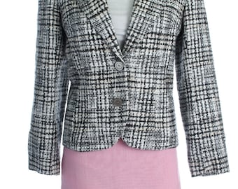 Vintage 90s Grey White Tweed Checked Woven Blazer Clueless Jacket Coat S UK 10 US 8