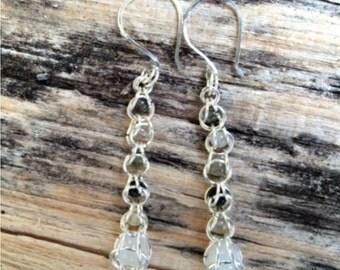 Rutilated Quartz Captive Bead Chainmaille Pierced Earrings OOAK