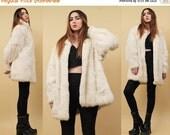 15% OFF 1DAY SALE 80s Vtg Snow White Genuine Rabbit Fur Jacket / Batwing Oversized Shaggy Winter Glam Coat Boho Hippie Grunge Rock Star / Sm