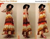 15% OFF 1DAY SALE 60s 70s Vtg Op Art Hawaiian MAXi Dress / Boho Mod Hippie Hostess Summer / CAMiLlia + FLAMiNgo Floral Print/ Xs - Sm