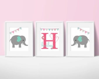 elephant theme nursery, bunting, children, kid, baby room, artwork, art, print, girl boy, pink, aqua, teal, chevron, gray, custom, monogram