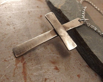Christian Cross Light Textured  White Bronze Pendant Necklace Jewelry For Men or Women