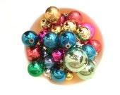3 Dozen Mid Century Shiny Brite Christmas Tree Ornament Collection - Metallic multicolors