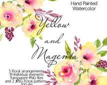 Flower Clipart - Watercolor floral clip art, Digital Clipart flowers, Yellow magenta watercolor flowers, Hand Painted watercolor