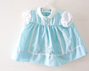 Vintage Baby Dress Vintage Blue Embroidered Lace Dress Size 0-3 Months Small Newborn Blue Dress