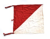 Signal Flag WWII Signal Flag US Military Flags Army Signal Flag Red and White Flags on Wood Poles