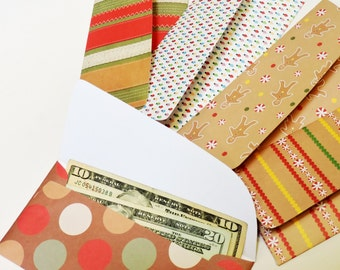 Christmas Gift Envelopes, Gingerbread Money Envelopes, Holiday Party Favor Paper Pouches, Budget Savings Envelopes, set of 5 itsyourcountry