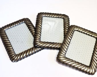 Faux Silver Frames, Vintage 5 x 7 Picture Portrait Frame Shabby Cottage Chic Elegant Wedding Home Decor, Photo Frame Set of 3 itsyourcountry