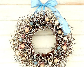 Easter Wreath-Spring Door Wreath-Easter Home Decor-Holiday Wreath-Easter Door Decor-Scented Wreaths-Custom Made-Choose Scent and Ribbon
