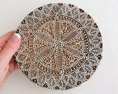 Large Mandala Stamp or Plaque, Circle Flower Stamp, Hand Carved Wood Stamp, Indian Printing Block, Round Wooden Textile or Clay Stamp, India