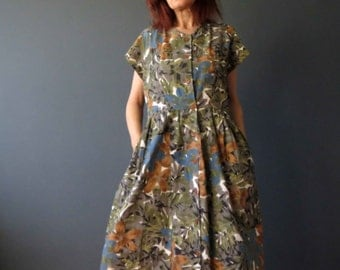 80s 90s Muted Tropical Cotton Day Dress Medium Large