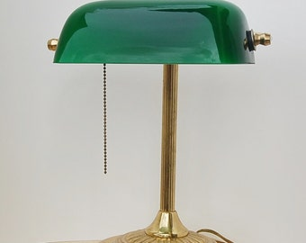 Green Shade Banker's Lawyers Lamp Brass