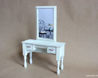 1/6 scale Vanity Table with Mirror Shabby White Wood Miniature furniture for Fashion dolls Blythe, Barbie, Pullip, Obitsu, BJD, Momoko