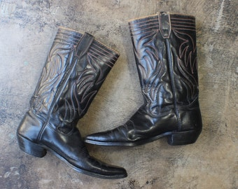 Men's 11 1/2 B / 1940's  Cowboy Boots / Black Leather Western Boots /  Vintage Men's Shoes