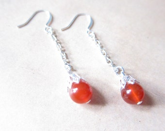 Carnelian Gemstone Bead Silver Chain Wire Wrapped Capped Earrings TCJG