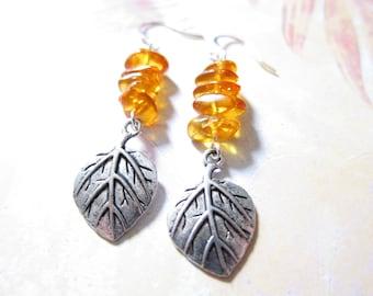 Amber Gemstone Beaded Silver Leaf Earrings TCJG