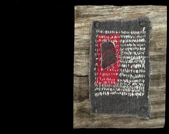 mixed media embroidery textile art rustic barn wood handmade freedom series