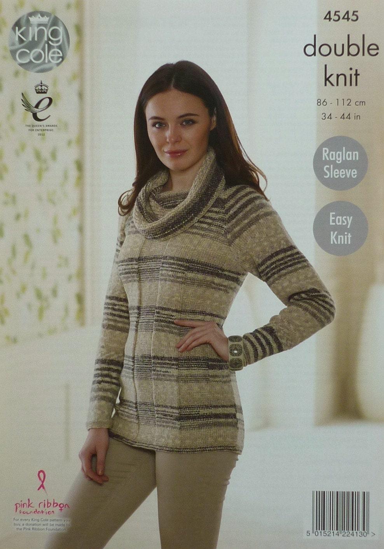 Knitting Pattern Ladies Cowl Neck Jumper : Womens Knitting Pattern K4545 Ladies Easy Knit Long Sleeve Long Cowl Neck Jum...