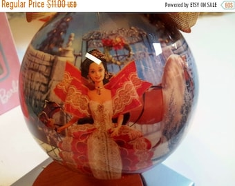 ON SALE Vintage Holiday Barbie Ornament With Stand and Box Christmas Decor