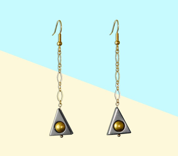 Triangle Geometric Earrings Gold Chain Dangle Drop Earrings Boho Chic