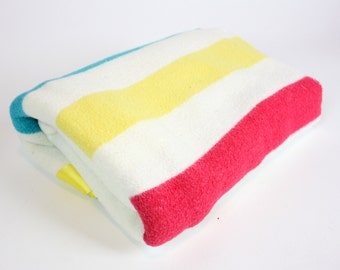 Vintage Retro Red Yellow and Blue Striped Wool Blanket