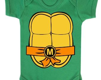 Michelangalo Ninja Turtles Inspired Shell Baby Vest