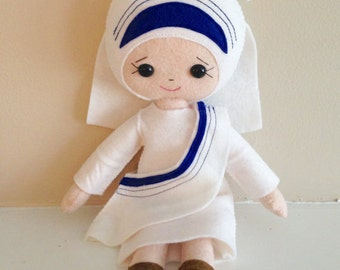Catholic Saint Felt Doll - Mother Teresa - Wool Felt Blend- Catholic Toy