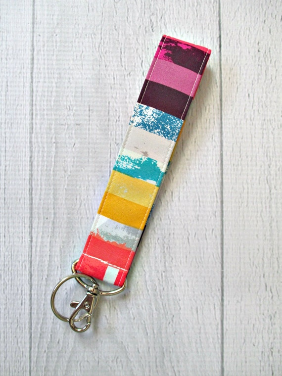 Rainbow stripe key fob | Orange, yellow, blue and purple stripes on wrist strap
