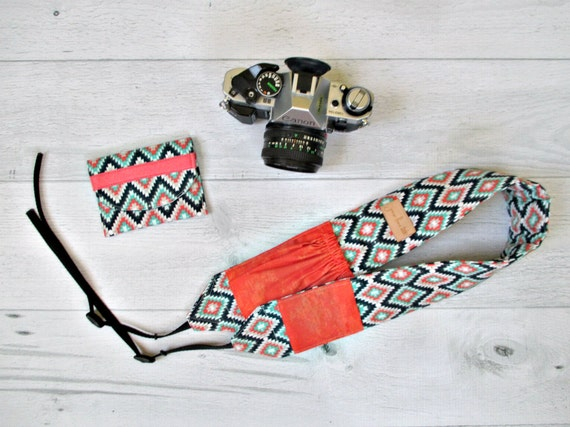 Camera Strap and Memory Card Wallet Gift Set. Southwest DSLR Camera Strap with Coral Lens Pockets. Memory Card Case. Gift for Photographer.