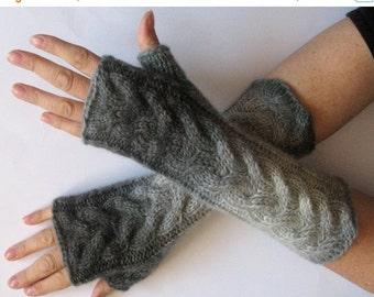 Fingerless Gloves Light Dark Gray wrist warmers