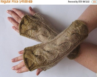 Fingerless Gloves Khaki Beige Brown wrist warmers