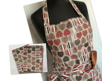 Linen Kitchen kit Utility Apron Womens Aprons for women mothers day gift Easter Apron Towels Natural Gray Heart Love Wedding