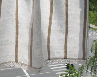 Curtain Burlap Curtains Lace Curtains Cafe Curtains Washed Linen Curtains Kitchen Curtains Shabby Chic Curtains Panels