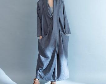Grey cotton and linen large pocket long dress