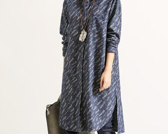 Women spring loose Clothing Leisure long sleeved cotton large size shirt