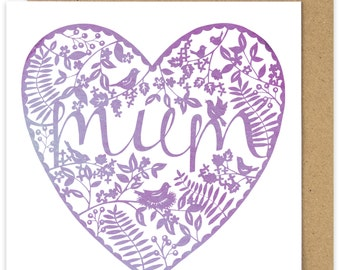 Mum Papercut Watercolour Style Heart Mothers Day Card.  Purple Heart. Shabby Chic. Birds. Mothering Sunday.