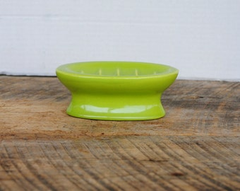 Vintage Green Pedestal Soap Holder Dish Ceramic Bathroom Kitchen Decor by Vohann of California, Inc.