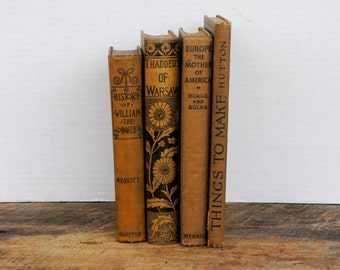 Vintage Stack of 4 Books Deep Gold - Brown Mixed Assorted Home Decor