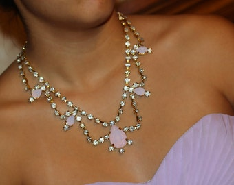 Pink Opal Necklace Audrey Hepburn Wedding Shoulder Necklace Classic Old Hollywood Rhinestone Crystal Necklace Fits Perfect On Your Neck