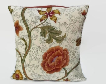 Orange Floral Embroidered Pillow Cover 16 X 16 Upcycled