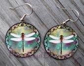 Double Curve and Dragonfly design earrings. High quality image printed on metal earrings. Wabanaki double curves and dragonflies