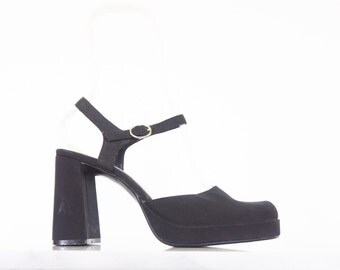 90s Chunky Black Mary Jane Pumps / Ankle Strap Shoes / Women's Size 8.5 US - 39 Eur - 6.5 UK