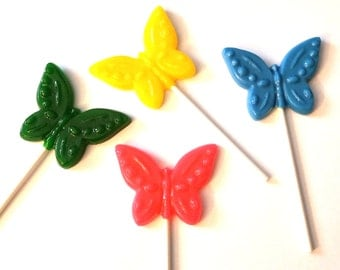 12 OPAQUE BUTTERFLY LOLLIPOPS - Any Color and Flavor (Solid Hard Candy)