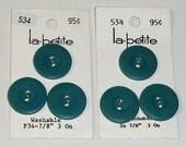"""Teal Buttons La Petite #534 Medium Teal Six 7/8"""" Vintage"""